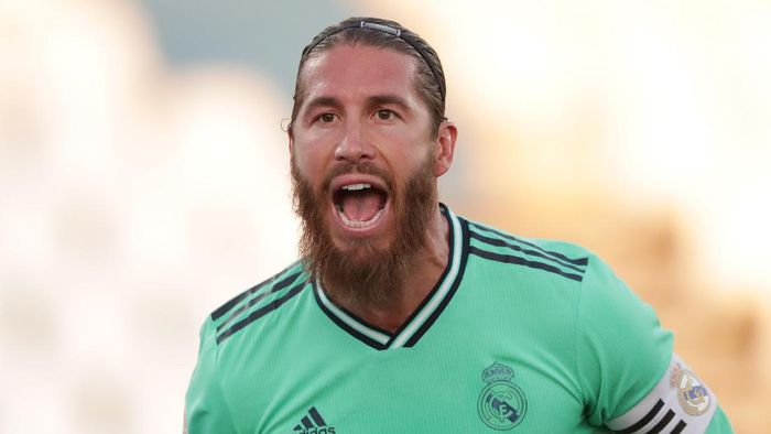 LEGANES, SPAIN - JULY 19: Sergio Ramos of Real Madrid celebrates his teams first goal during the Liga match between CD Leganes and Real Madrid CF at Estadio Municipal de Butarque on July 19, 2020 in Leganes, Spain. (Photo by Gonzalo Arroyo Moreno/Getty Images)