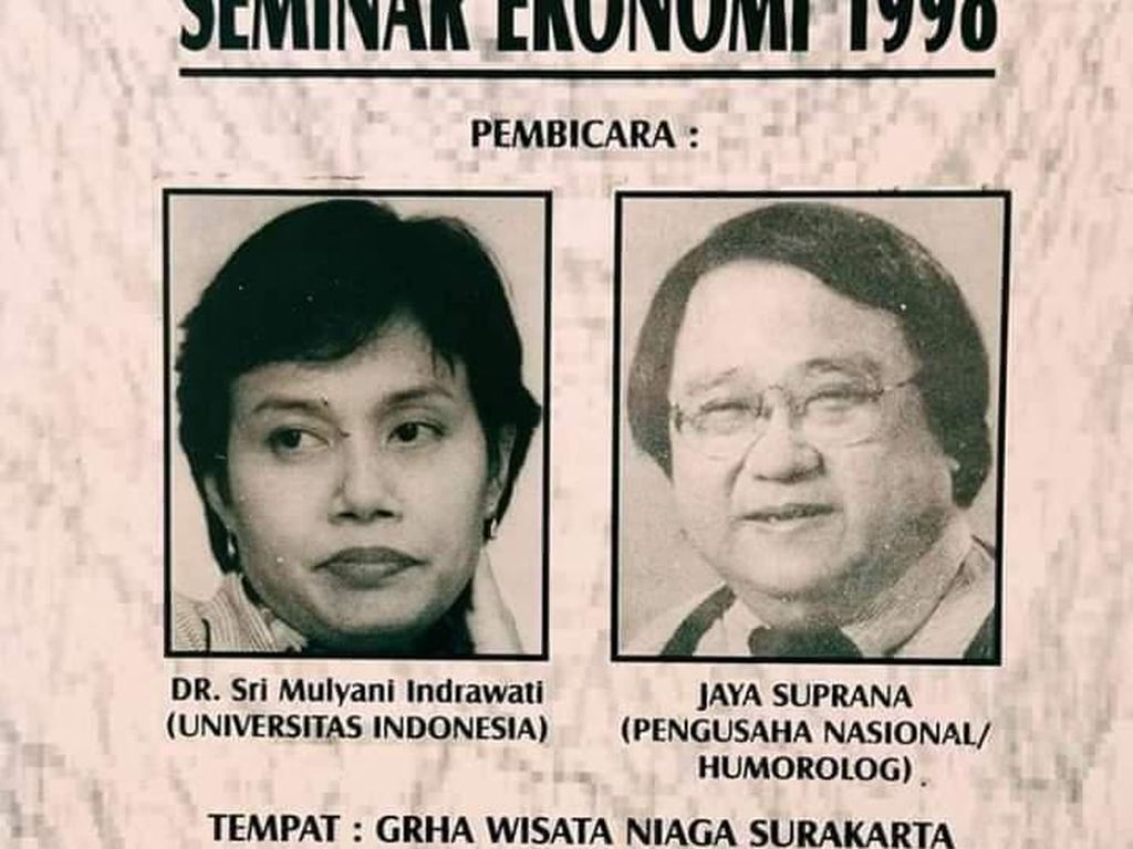 Foto Sri Mulyani Jadi Narasumber dan Jokowi Panitia Seminar Diambil 1998