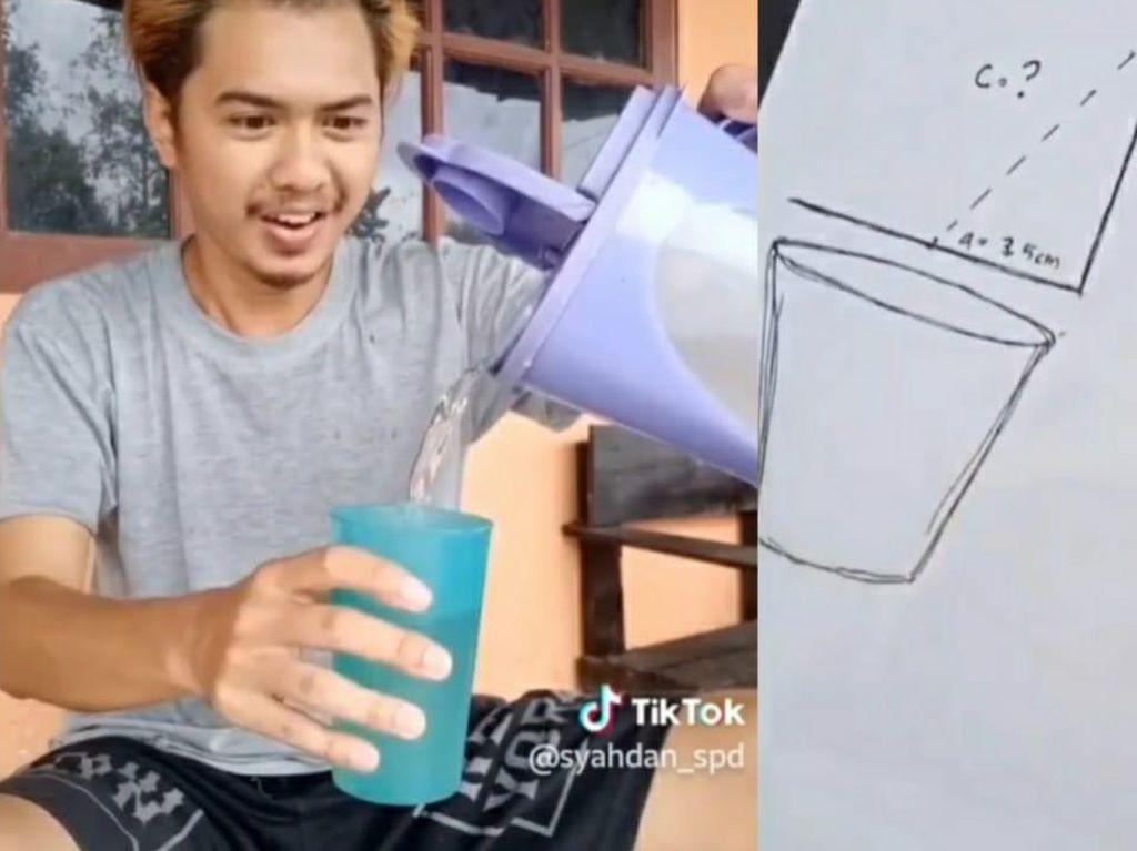 Ribet! Pria Ini Pakai Rumus Matematika untuk Tuang Air ke Gelas