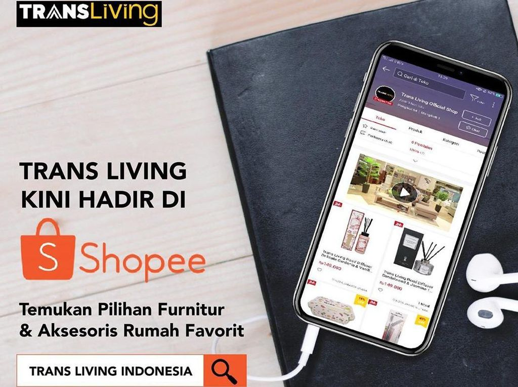 Via Shopee, Belanja Furnitur-Aksesoris Rumah Trans Living Lebih Mudah