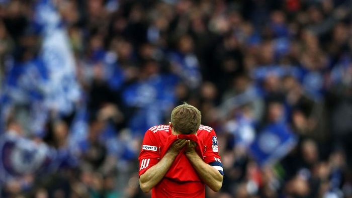 LONDON, ENGLAND - MAY 05:  Steven Gerrard of Liverpool reacts at the final whistle during the FA Cup with Budweiser Final match between Liverpool and Chelsea at Wembley Stadium on May 5, 2012 in London, England.  (Photo by Clive Brunskill/Getty Images)