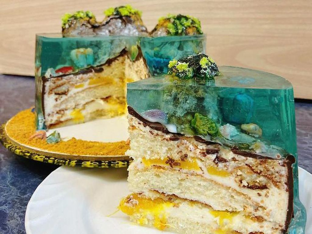 Cantik Banget! 10 Kue Jelly Ini Dibuat dengan Tampilan Pulau yang Indah