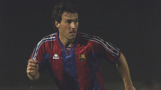 28 Aug 1996:  Laurent Blanc of Barcelona in action during a Spanish Friendly match against Athletico Madrid in Spain.    Mandatory Credit: Clive  Brunskill/Allsport