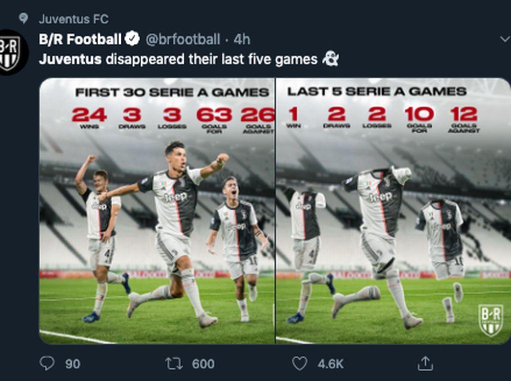 Ramai Meme Juventus, Nyonya Tua Raib di Ambang Scudetto