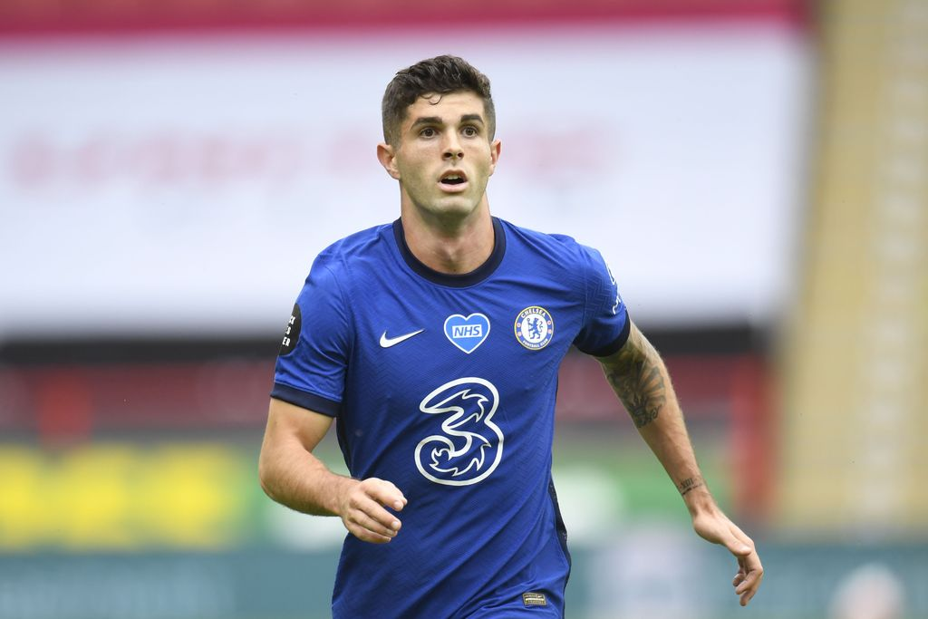 SHEFFIELD, ENGLAND - JULY 11: Christian Pulisic of Chelsea looks on during the Premier League match between Sheffield United and Chelsea FC at Bramall Lane on July 11, 2020 in Sheffield, England. Football Stadiums around Europe remain empty due to the Coronavirus Pandemic as Government social distancing laws prohibit fans inside venues resulting in all fixtures being played behind closed doors. (Photo by Peter Powell/Pool via Getty Images)