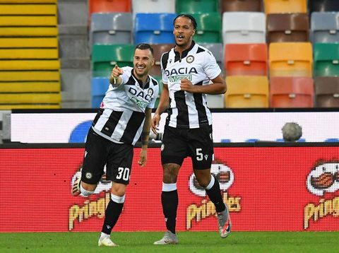 UDINE, ITALY - JULY 23: Ilija Nestorovski of Udinese Calcio  celebrates after scoring the 1- 1 goal during the Serie A match between Udinese Calcio and Juventus at Stadio Friuli on July 23, 2020 in Udine, Italy. (Photo by Alessandro Sabattini/Getty Images)