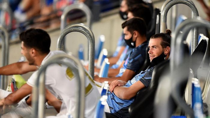 MADRID, SPAIN - JULY 10: Gareth Bale of Real Madrid sits on the bench before the Liga match between Real Madrid CF and Deportivo Alaves at Estadio Alfredo Di Stefano on July 10, 2020 in Madrid, Spain. (Photo by Denis Doyle/Getty Images)