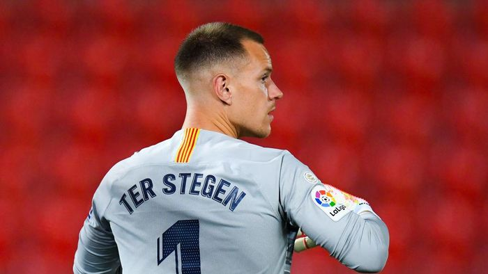 MALLORCA, SPAIN - JUNE 13: Marc-Andre ter Stegen of FC Barcelona looks on during the Liga match between RCD Mallorca and FC Barcelona at Estadio de Son Moix on June 13, 2020 in Mallorca, Spain. (Photo by David Ramos/Getty Images)