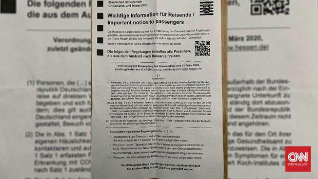 2. Surat peraturan karantina mandiri bagi pendatang asing yang masuk ke Frankfurt, Jerman. (CNNIndonesia/Fandi Stuerz0