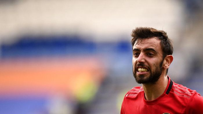 Manchester Uniteds Bruno Fernandes reacts during the English Premier League soccer match between Leicester City and Manchester United at the King Power Stadium, in Leicester, England, Sunday, July 26, 2020. (Oli Scarff/Pool via AP)