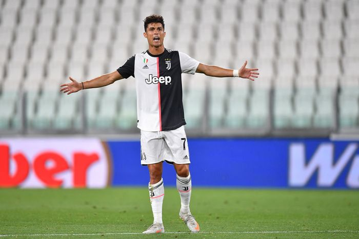 TURIN, ITALY - JULY 26:  Cristiano Ronaldo of Juventus reacts during the Serie A match between Juventus and  UC Sampdoria at Allianz Stadium on July 26, 2020 in Turin, Italy.  (Photo by Valerio Pennicino/Getty Images)