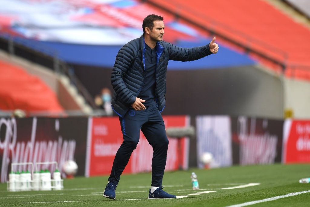 LONDON, ENGLAND - JULY 19: Frank Lampard, Manager of Chelsea reacts during the FA Cup Semi Final match between Manchester United and Chelsea at Wembley Stadium on July 19, 2020 in London, England. Football Stadiums around Europe remain empty due to the Coronavirus Pandemic as Government social distancing laws prohibit fans inside venues resulting in all fixtures being played behind closed doors. (Photo by Andy Rain/Pool via Getty Images)