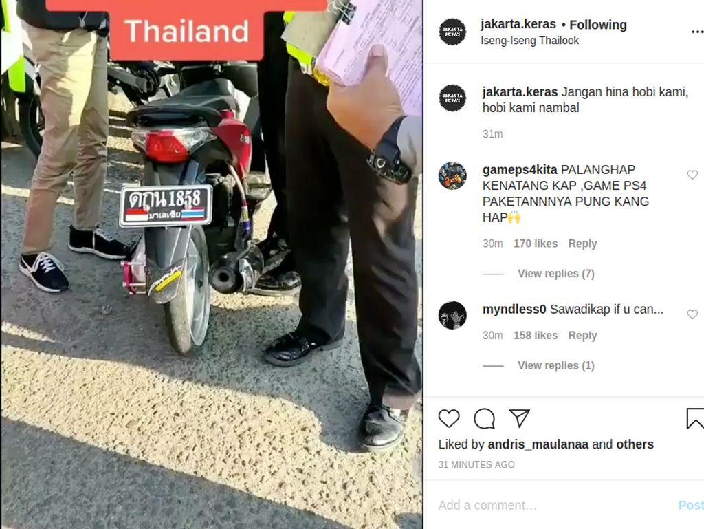 Pakai Pelat Nomor Thailand, Honda Beat Ditilang Polisi