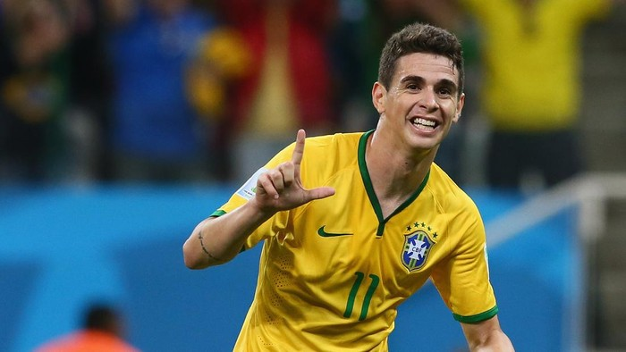 SAO PAULO, BRAZIL - JUNE 12:  Oscar of Brazil celebrates his goal in the second half during the 2014 FIFA World Cup Brazil Group A match between Brazil and Croatia at Arena de Sao Paulo on June 12, 2014 in Sao Paulo, Brazil.  (Photo by Kevin C. Cox/Getty Images)