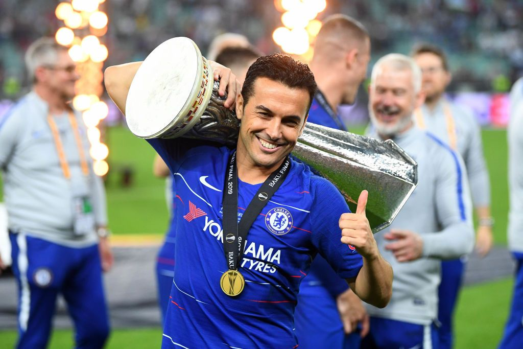 BAKU, AZERBAIJAN - MAY 29:  Pedro of Chelsea celebrates after scoring his team's second goal during the UEFA Europa League Final between Chelsea and Arsenal at Baku Olimpiya Stadionu on May 29, 2019 in Baku, Azerbaijan. (Photo by Alex Grimm/Getty Images)