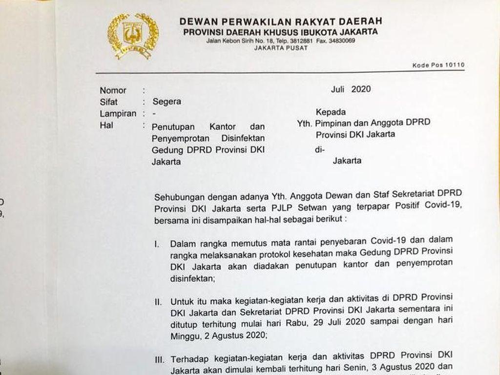 Ada Anggota-Pegawai Positif Corona, Gedung DPRD DKI Ditutup 5 Hari
