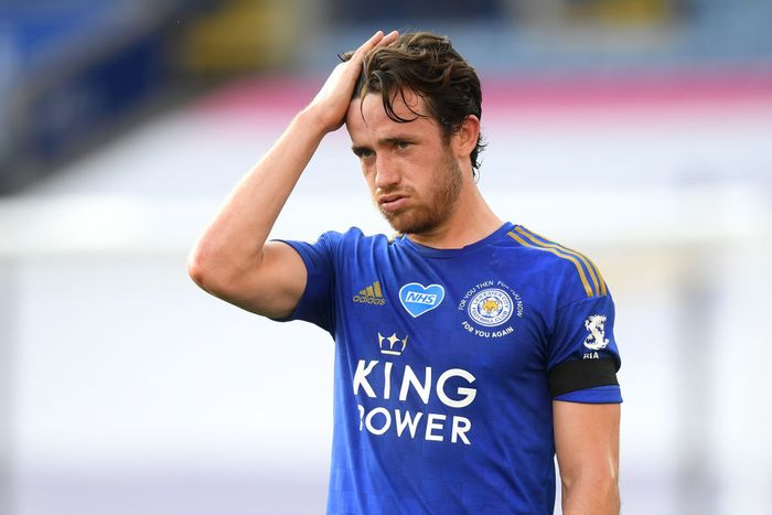 LEICESTER, ENGLAND - JUNE 23: Ben Chilwell of Leicester City reacts during the Premier League match between Leicester City and Brighton & Hove Albion at The King Power Stadium on June 23, 2020 in Leicester, England. Football Stadiums around Europe remain empty due to the Coronavirus Pandemic as Government social distancing laws prohibit fans inside venues resulting in all fixtures being played behind closed doors. (Photo by Michael Regan/Getty Images)