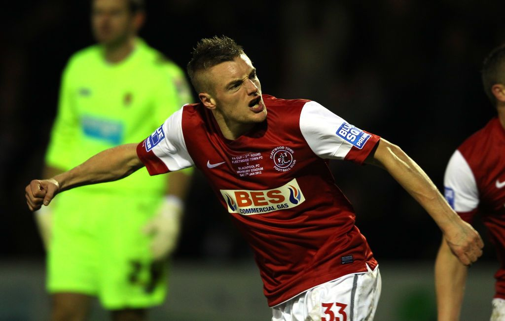 FLEETWOOD, ENGLAND - JANUARY 07:  Jamie Vardy of Fleetwood Town celebrates after scoring his goal during the FA Cup sponsored by Budweiser third round match between Fleetwood Town and Blackpool at Highbury Stadium on January 7, 2012 in Fleetwood, England.  (Photo by Alex Livesey/Getty Images)