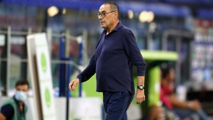 CAGLIARI, ITALY - JULY 29: Juventuss coach Maurizio Sarri reacts during the Serie A match between Cagliari Calcio and  Juventus at Sardegna Arena on July 29, 2020 in Cagliari, Italy.  (Photo by Enrico Locci/Getty Images)