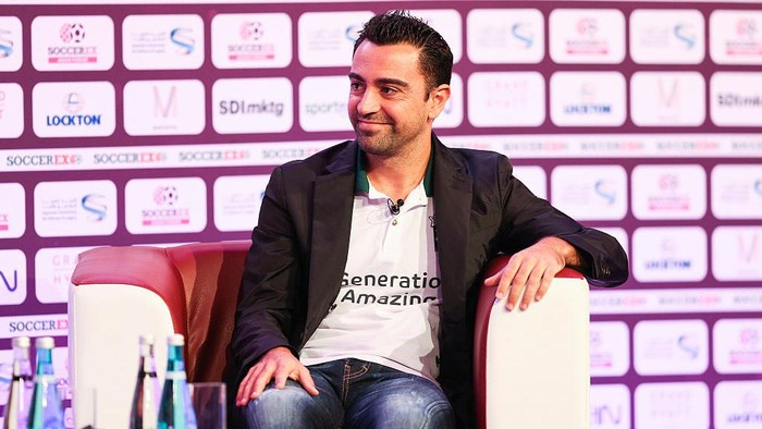 DOHA, QATAR - DECEMBER 05: Generation Amazing ambassador Xavi Hernandez addresses delegates during day 2 of Soccerex Asia on December 5, 2016 in Doha, Qatar. (Photo by Barrington Coombs/Getty Images)