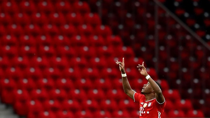 BERLIN, GERMANY - JULY 04: David Alaba of FC Bayern Muenchen celebrates after scoring his teams first goal  during the DFB Cup final match between Bayer 04 Leverkusen and FC Bayern Muenchen at Olympiastadion on July 04, 2020 in Berlin, Germany. (Photo by Alexander Hassenstein/Getty Images)