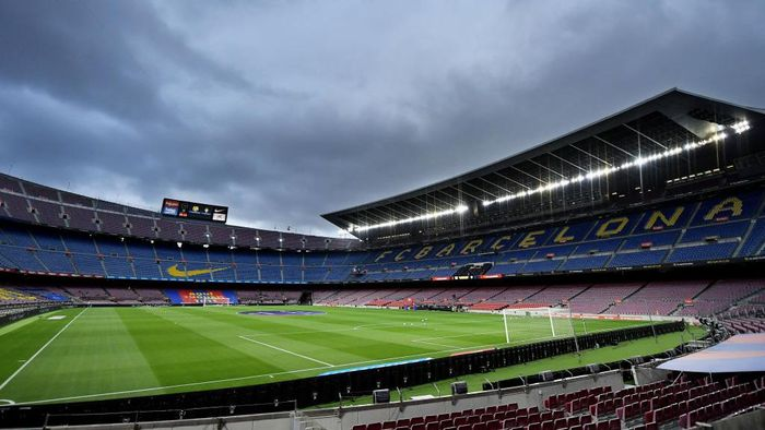 BARCELONA, SPAIN - JULY 16: A general view of the stadium ahead of the Liga match between FC Barcelona and CA Osasuna at Camp Nou on July 16, 2020 in Barcelona, Spain. (Photo by David Ramos/Getty Images)