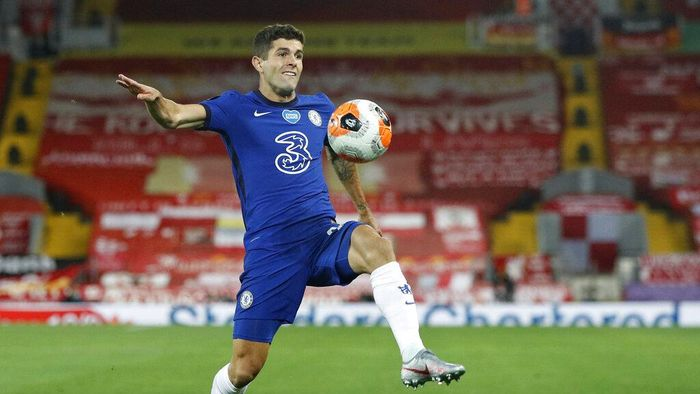 Chelseas Christian Pulisic controls the ball during the English Premier League soccer match between Liverpool and Chelsea at Anfield Stadium in Liverpool, England, Wednesday, July 22, 2020. (Phil Noble/Pool via AP)