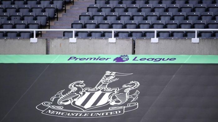NEWCASTLE UPON TYNE, ENGLAND - JULY 05: General view inside the stadium where a Newcastle United banner is seen alongside the Premier League logo prior to the Premier League match between Newcastle United and West Ham United at St. James Park on July 05, 2020 in Newcastle upon Tyne, England. Football Stadiums around Europe remain empty due to the Coronavirus Pandemic as Government social distancing laws prohibit fans inside venues resulting in games being played behind closed doors. (Photo by Laurence Griffiths/Getty Images)