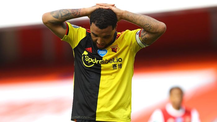 LONDON, ENGLAND - JULY 26: Troy Deeney of Watford reacts during the Premier League match between Arsenal FC and Watford FC at Emirates Stadium on July 26, 2020 in London, England. Football Stadiums around Europe remain empty due to the Coronavirus Pandemic as Government social distancing laws prohibit fans inside venues resulting in all fixtures being played behind closed doors. (Photo by Julian Finney/Getty Images)