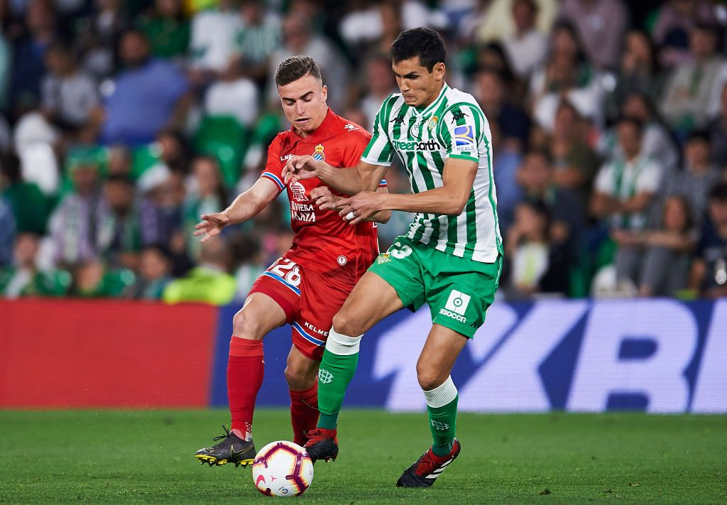 SEVILLE, SPAIN - JULY 16: Aissa Mandi gestures during the Liga match between Real Betis Balompie and Deportivo Alaves at Estadio Benito Villamarin on July 16, 2020 in Seville, Spain. (Photo by Fran Santiago/Getty Images)