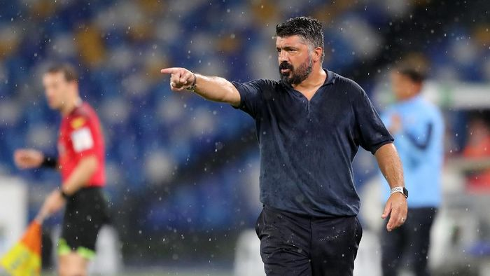 NAPLES, ITALY - AUGUST 01: Gennaro Gattuso, SSC Napoli coach, gestures during the Serie A match between SSC Napoli and  SS Lazio at Stadio San Paolo on August 01, 2020 in Naples, Italy. (Photo by Francesco Pecoraro/Getty Images)