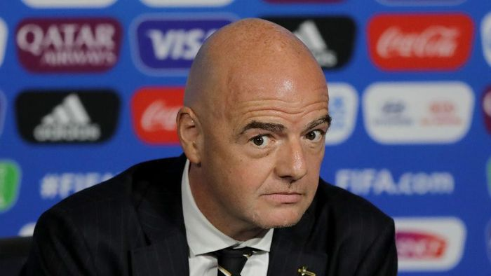 LYON, FRANCE - JULY 05:  FIFA president Gianni Infantino speaks during the FIFA Closing Press Conference at Stade de Lyon on July 05, 2019 in Lyon, France. (Photo by Elsa/Getty Images)