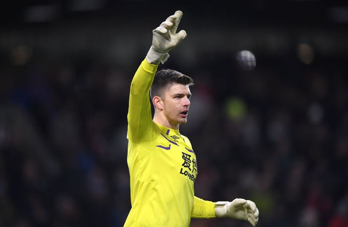 BURNLEY, ENGLAND - MARCH 07: Burnley goalkeeper Nick Pope in action during the Premier League match between Burnley FC and Tottenham Hotspur at Turf Moor on March 07, 2020 in Burnley, United Kingdom. (Photo by Stu Forster/Getty Images)
