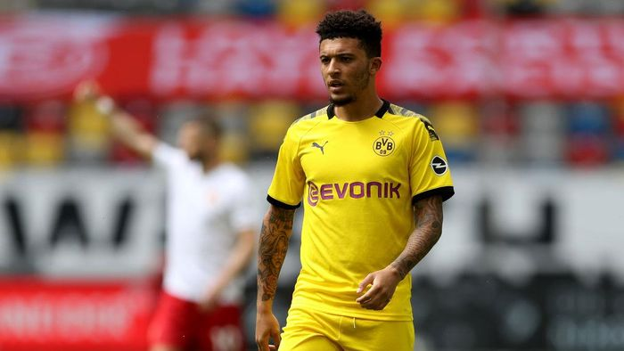 DUESSELDORF, GERMANY - JUNE 13: Jadon Sancho of Dortmund is seen during the Bundesliga match between Fortuna Duesseldorf and Borussia Dortmund at Merkur Spiel-Arena on June 13, 2020 in Duesseldorf, Germany. (Photo by Lars Baron/Getty Images)