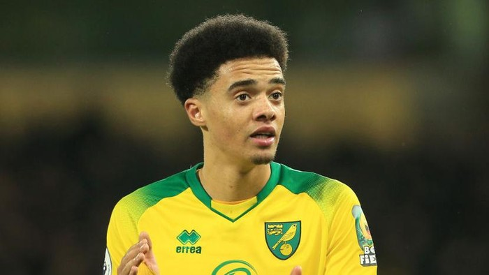 NORWICH, ENGLAND - FEBRUARY 28: Jamal Lewis of Norwich City celebrates victory during the Premier League match between Norwich City and Leicester City at Carrow Road on February 28, 2020 in Norwich, United Kingdom. (Photo by Stephen Pond/Getty Images)