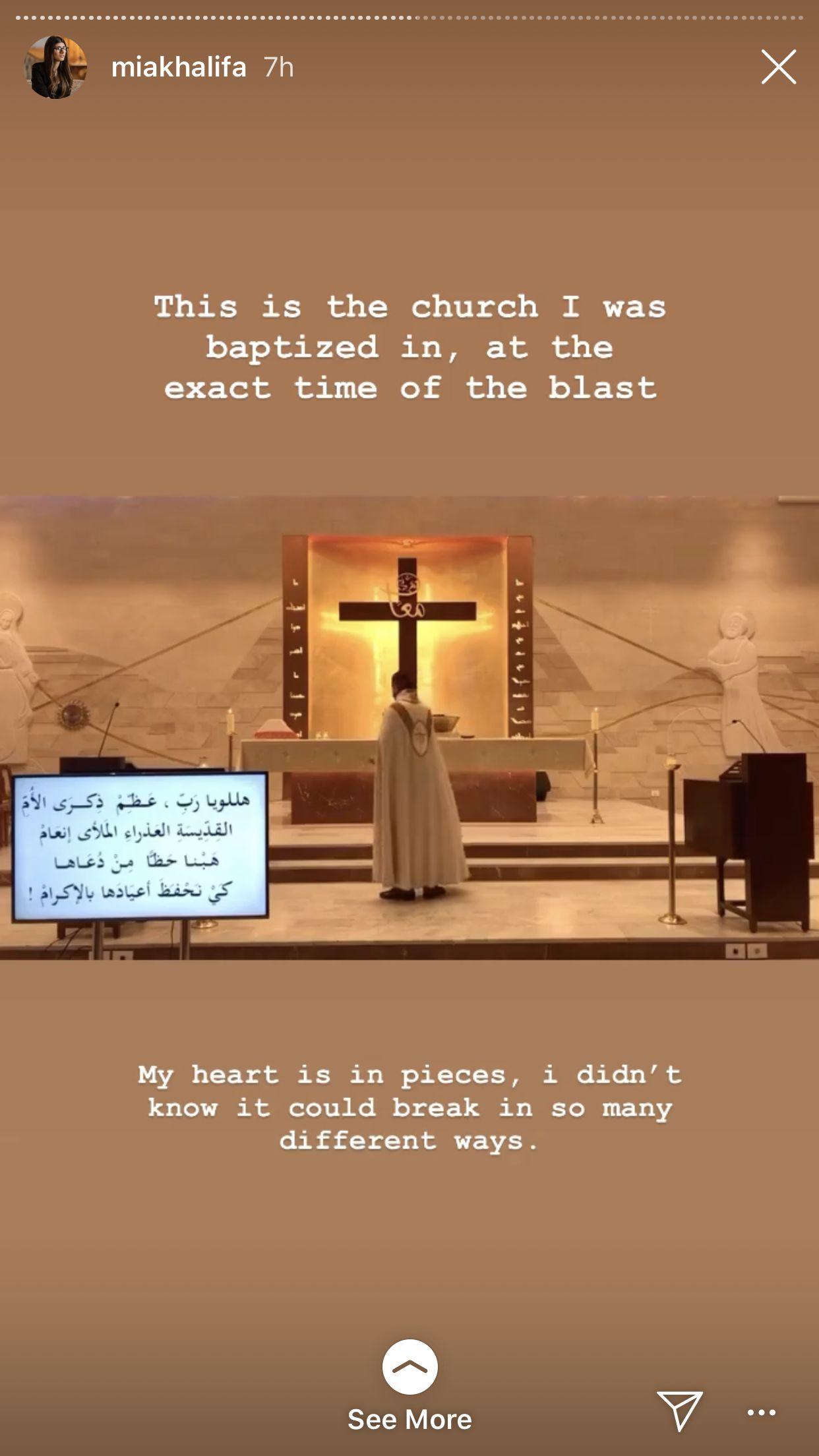 Mia Khalifa soal ledakan di Libanon.dok. Tangkapan layar Instagram Stories @miakhalifa