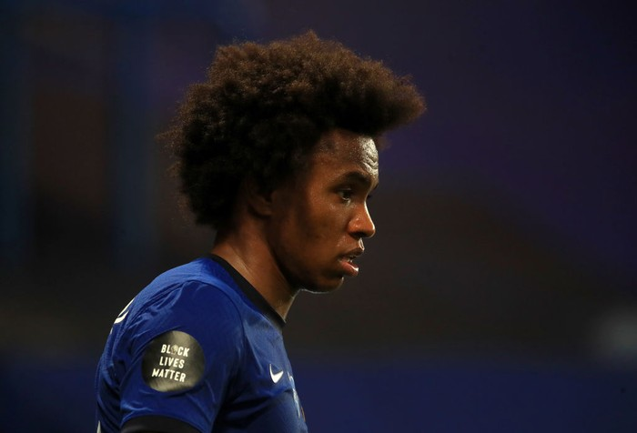 LONDON, ENGLAND - JULY 14: A Black Lives Matter movement logo is seen on the shirt sleeve of Willian of Chelsea during the Premier League match between Chelsea FC and Norwich City at Stamford Bridge on July 14, 2020 in London, England. Football Stadiums around Europe remain empty due to the Coronavirus Pandemic as Government social distancing laws prohibit fans inside venues resulting in all fixtures being played behind closed doors. (Photo by Adam Davy/Pool via Getty Images)