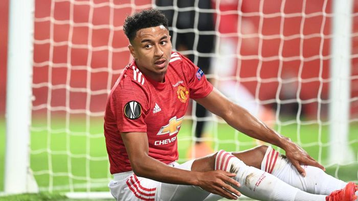 MANCHESTER, ENGLAND - AUGUST 05: Jesse Lingard of Manchester United reacts during the UEFA Europa League round of 16 second leg match between Manchester United and LASK at Old Trafford on August 05, 2020 in Manchester, England. (Photo by Michael Regan/Getty Images)