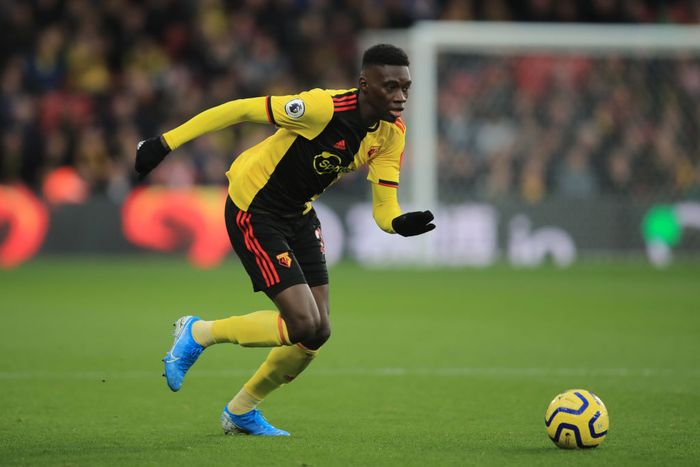 WATFORD, ENGLAND - DECEMBER 07: Ismaila Sarr of Watford during the Premier League match between Watford FC and Crystal Palace at Vicarage Road on December 7, 2019 in Watford, United Kingdom. (Photo by Marc Atkins/Getty Images)