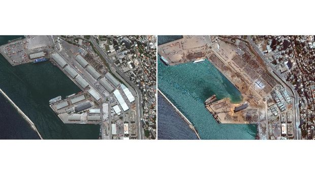 This combination of satellite images provided by Maxar Technologies shows the port of Beirut and the surrounding area in Lebanon, top, on June 9, 2020, and the same area on Wednesday, Aug. 5, 2020, the day after a massive explosion that left entire city blocks blanketed with glass and rubble. (©2020 Maxar Technologies via AP)