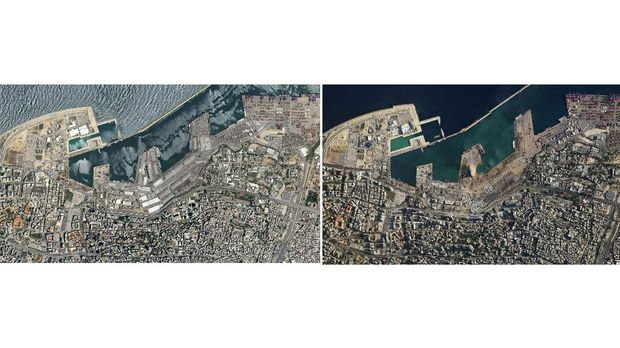 A combo of satellite images of the port of Beirut and the surrounding area in Lebanon, top, taken on May 31, 2020 and the bottom taken on Wednesday Aug. 5, 2020 that shows the destruction following a massive blast on Tuesday. Residents of Beirut confronted a scene of utter devastation a day after a massive explosion at the port rippled across the Lebanese capital, killing at least 100 people, wounding thousands and leaving entire city blocks blanketed with glass and rubble. (Planet Labs Inc. via AP)