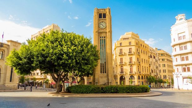 Beirut, Lebanon - May 22, 2017: View of Nijmeh Square.