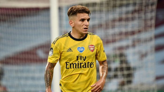 BIRMINGHAM, ENGLAND - JULY 21: Lucas Torreira of Arsenal looks on during the Premier League match between Aston Villa and Arsenal FC at Villa Park on July 21, 2020 in Birmingham, England. Football Stadiums around Europe remain empty due to the Coronavirus Pandemic as Government social distancing laws prohibit fans inside venues resulting in all fixtures being played behind closed doors. (Photo by Rui Vieira/Pool via Getty Images)