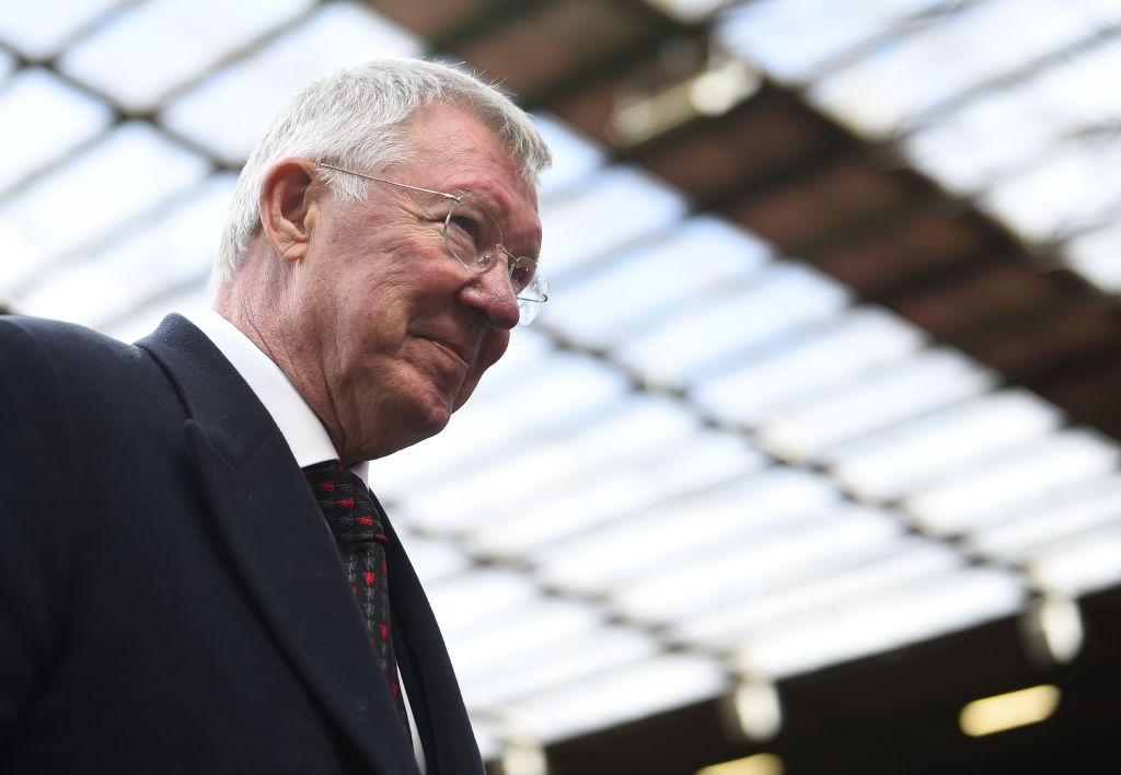 MANCHESTER, ENGLAND - MAY 26: Sir Alex Ferguson of Manchester United leaves the pitch during the Manchester United '99 Legends v FC Bayern Legends at Old Trafford on May 26, 2019 in Manchester, England. (Photo by Nathan Stirk/Getty Images)