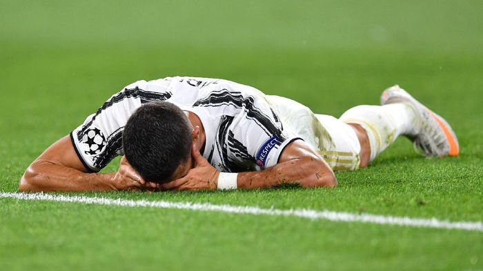 TURIN, ITALY - AUGUST 07: Cristiano Ronaldo of Juventus reacts during the UEFA Champions League round of 16 second leg match between Juventus and Olympique Lyon at Allianz Stadium on August 07, 2020 in Turin, Italy. (Photo by Valerio Pennicino/Getty Images)