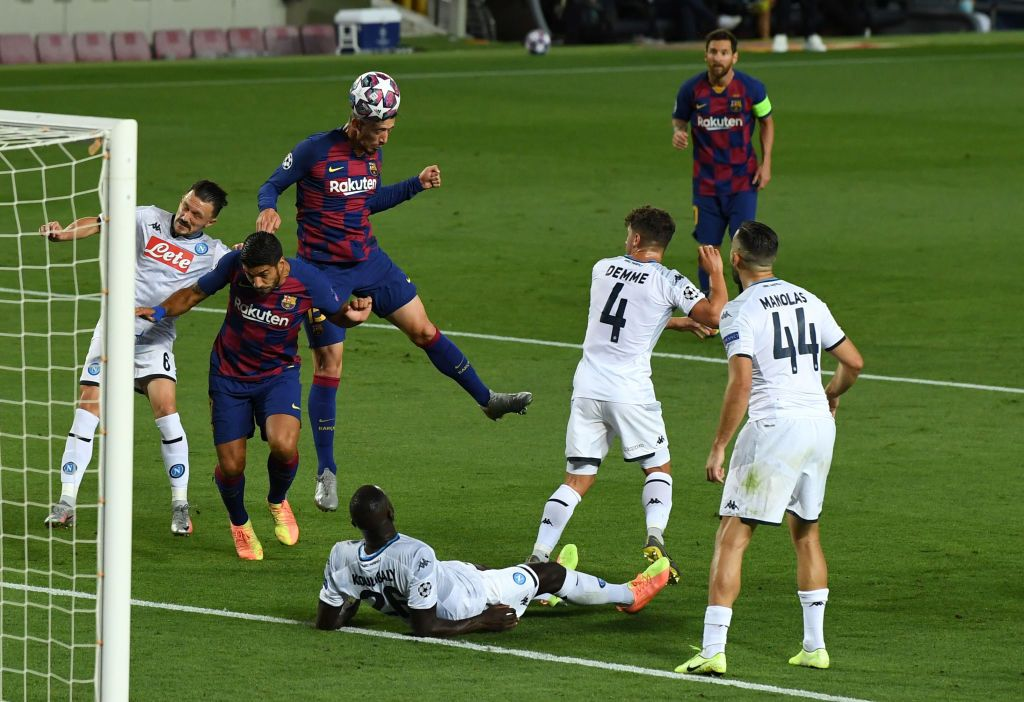 BARCELONA, SPAIN - AUGUST 08: Clement Lenglet of Barcelona scores his sides first goal during the UEFA Champions League round of 16 second leg match between FC Barcelona and SSC Napoli at Camp Nou on August 08, 2020 in Barcelona, Spain.  (Photo by David Ramos/Getty Images)