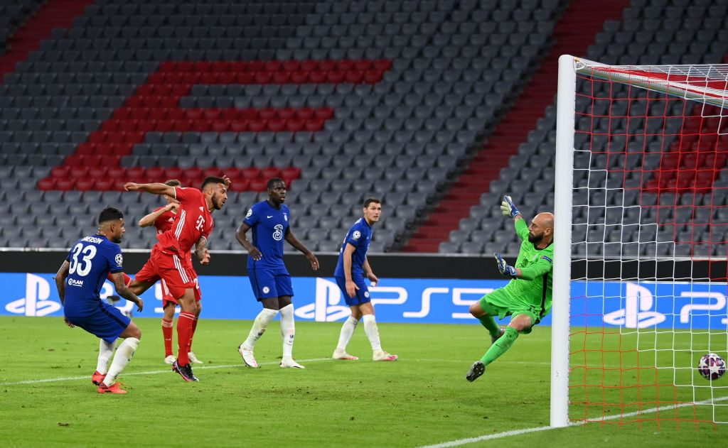 MUNICH, GERMANY - AUGUST 08: Corentin Tolisso of Bayern Munich scores his sides third goal during the UEFA Champions League round of 16 second leg match between FC Bayern Muenchen and Chelsea FC at Allianz Arena on August 08, 2020 in Munich, Germany. (Photo by Matthias Hangst/Getty Images)