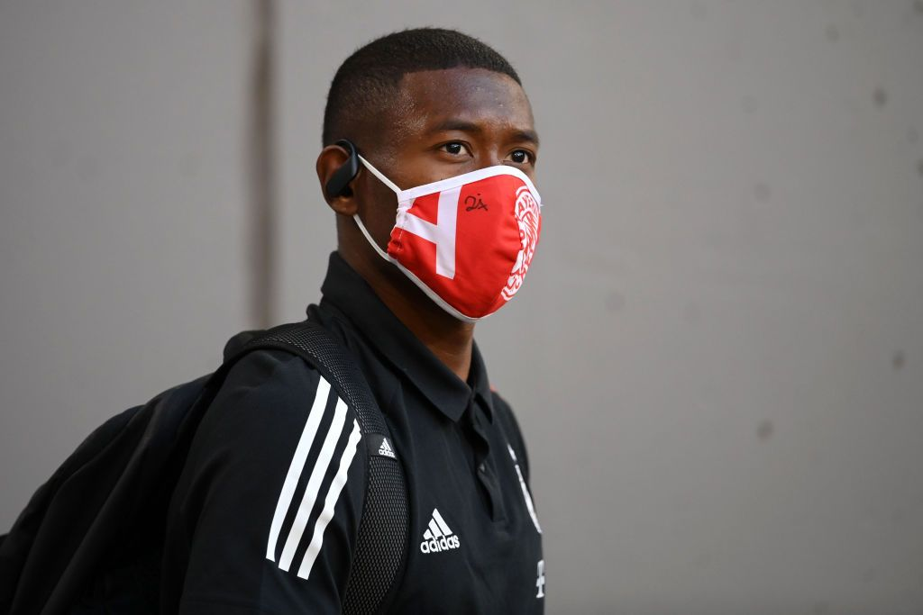 MUNICH, GERMANY - AUGUST 08: David Alaba of Bayern Munich  arrives at the stadium prior to during the UEFA Champions League round of 16 second leg match between FC Bayern Muenchen and Chelsea FC at Allianz Arena on August 08, 2020 in Munich, Germany. (Photo by Matthias Hangst/Getty Images)