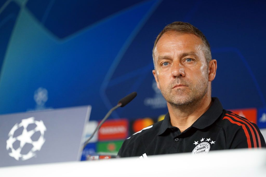 MUNICH, GERMANY - AUGUST 07: Hans-Dieter Flick, head coach of Bayern Muenchen, looks on during a press conference ahead of their UEFA Champions League round of 16 second leg match against Chelsea FC at Saebener Strasse training ground on August 07, 2020 in Munich, Germany. (Photo by FC Bayern - Handout/Getty Images)