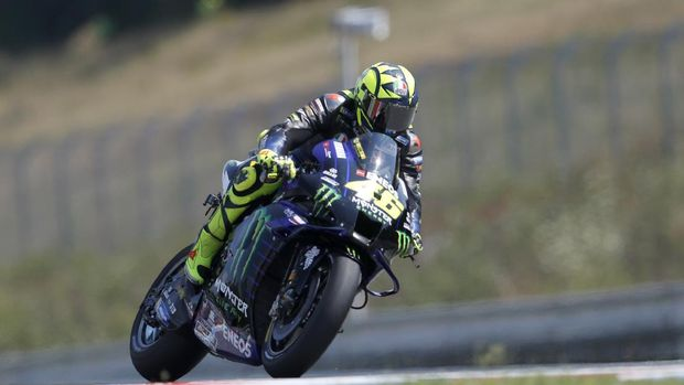Italian rider Valentino Rossi competes during the MotoGP at the Czech Republic motorcycle Grand Prix at the Automotodrom Brno, in Brno, Czech Republic, Sunday, Aug. 9, 2020. (AP Photo/Petr David Josek)